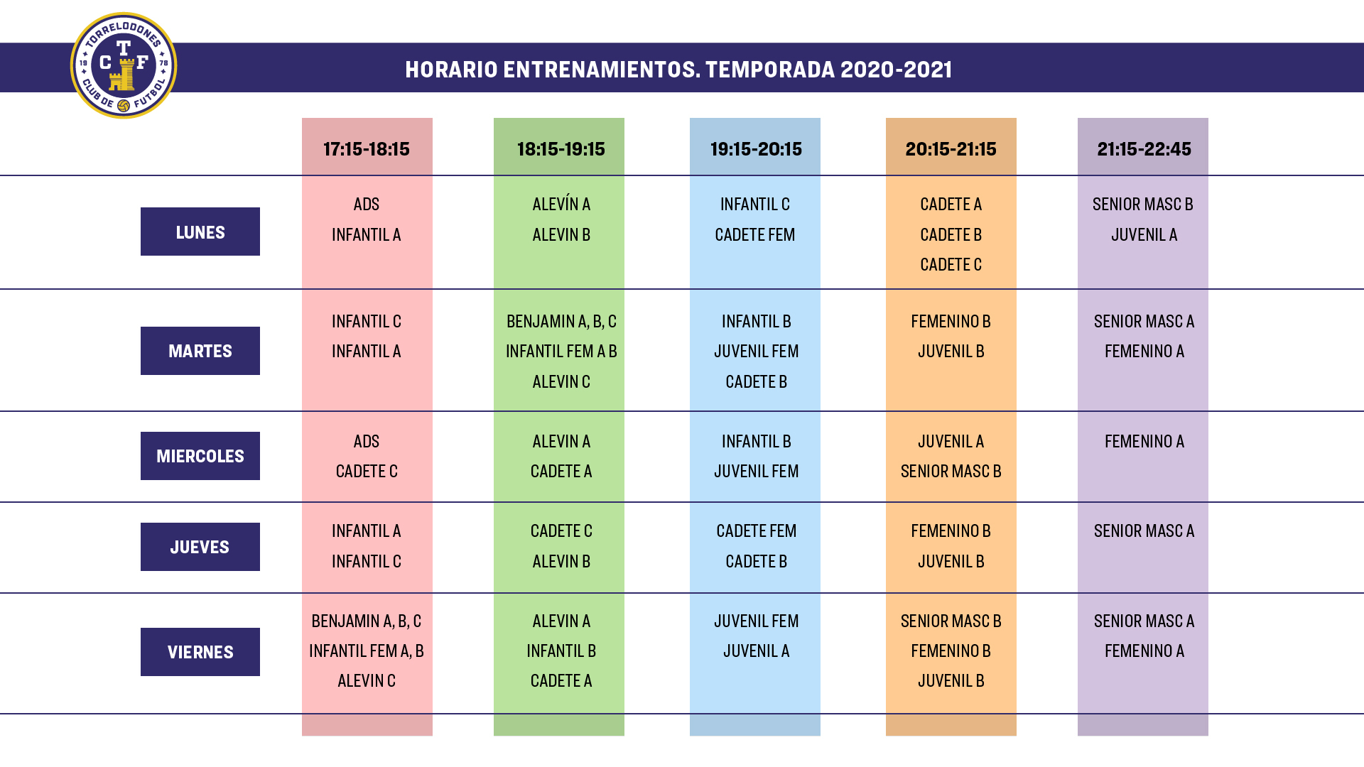 Horarios Entrenamientos Temporada 2020 / 2021