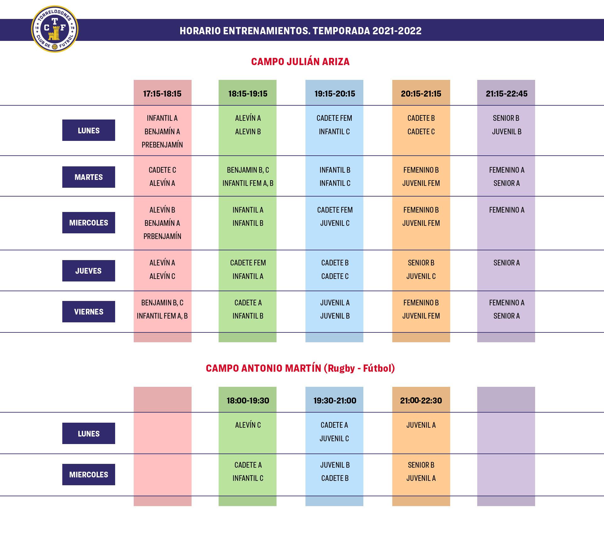 Horarios Entrenamientos Temporada 2021 / 2022